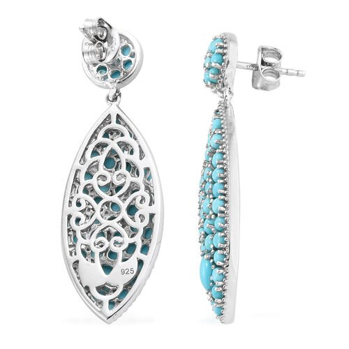 Arizona Sleeping Beauty Turquoise (Ovl and Rnd) Dangle Earrings (with Push Back) in Platinum Overlay Sterling Silver 4.500 Ct, Silver wt 6.50 Gms