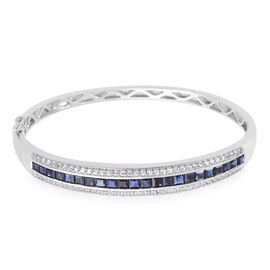 Madagascar Blue Sapphire (Sqr),White Topaz Bangle (Size 7.5) in Rhodium Overlay Sterling Silver 5.94