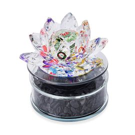 Decorative Crystal Lotus with Shungite and Solar Rotating Base (Size  8.8x9.5 Cm) - Multi