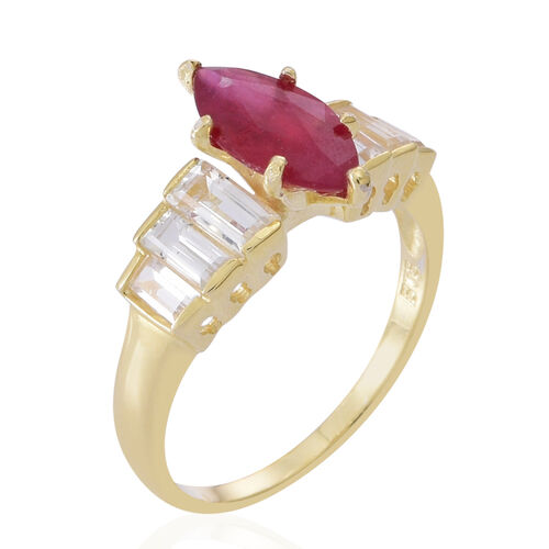 African Ruby (Mrq 2.50 Ct), White Topaz Ring in 14K Gold Overlay Sterling Silver 3.740 Ct.