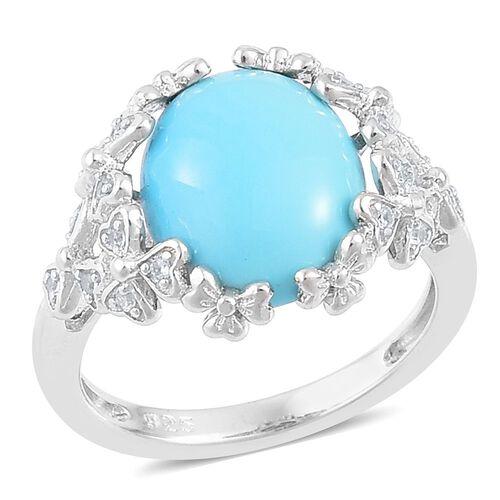 Designer Inspired- Arizona Sleeping Beauty Turquoise (Ovl 3.00 Ct), White Zircon Ring in Rhodium Pla