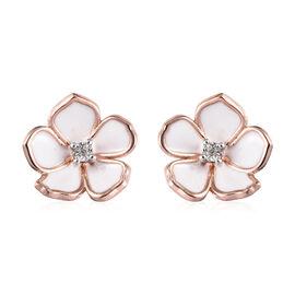 Diamond (Rnd) Enamelled Jasmine Flower Stud Earrings (with Push Back) in Rose Gold Overlay Sterling