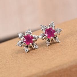 AA African Ruby and Natural Cambodian Zircon Snowflake Stud Earrings (with Push Back) in Platinum Overlay Sterling Silver 1.25 Ct.