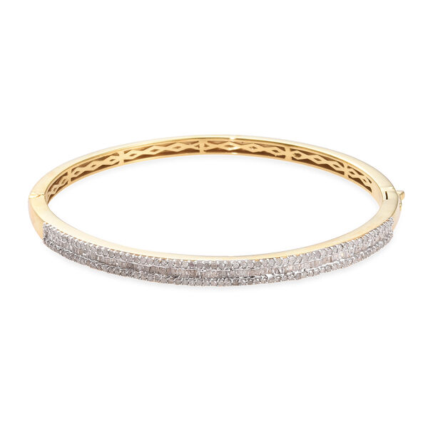 1.51 Ct Diamond Stacker Bangle in 14K Gold Plated Silver 14.40 Grams 7.5 Inch