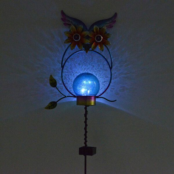 Set of 2 - Solar Powered Owl Shape Stake Light (Length 70 Cm) - Blue and Black