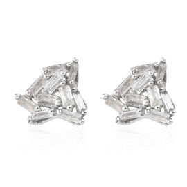 Diamond Platinum Overlay Sterling Silver Earring  0.247  Ct.