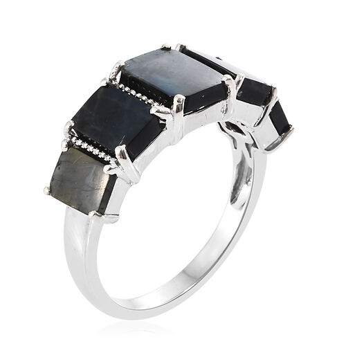 Spectrolite (Bgt 1.75 Ct) 5 Stone Ring in Platinum Overlay Sterling Silver 6.000 Ct.