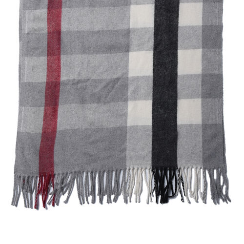 Black and Grey Chequered Pattern Scarf (Size 62x195+9 Cm)