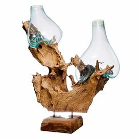 Jardin de Bali - Drinking Glass Vase On Wood Two Glass Stand on Wooden Sculpture