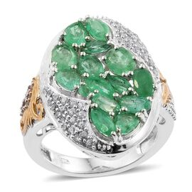 4 Carat Zambian Emerald and Cambodian Zircon Cluster Ring in Gold Plated Sterling Silver 6.5 Grams