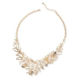 Designer Inspired- Morganite (Mrq) Tree Branch Necklace (Size 20 with 2.5 inch Extender) in Gold Pla