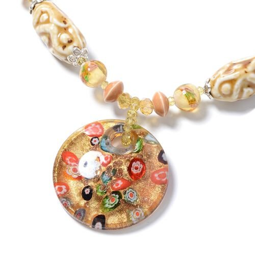 Murano Style Glass, Ceramic, Simulated Champagne,Yellow Quartzite, Simulated Grey Moonstone and Multi Colour Beads Necklace (Size 28) in Silver Plated.