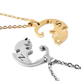 Personalised Engravable Kitty Necklcae, Set of 2, Size 21.5 Inch, Stainless Steel