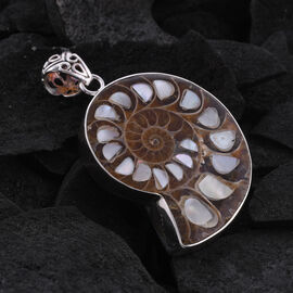 Royal Bali Collection - Ammonite and Mother of Pearl Pendant in Sterling Silver