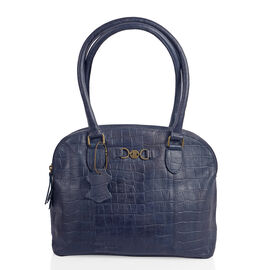 Limited Collection 100% Genuine Croce Embossed Leather with Antique brass Logo Navy Colour Large Tote (39x12x5.5cm)