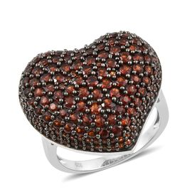 Designer Inspired- Heart Ring in Platinum Overlay Sterling Silver Set with 190 Mozambique Garnet Gemstone Carat Wt 5.00 Cts. Silver wt 7.79 Gms.