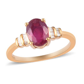 African Ruby and Diamond Ring in 14K Gold Overlay Sterling Silver 1.95 Ct.