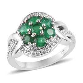 1 Carat Brazilian Emerald Floral Cluster Ring in Platinum Plated Silver