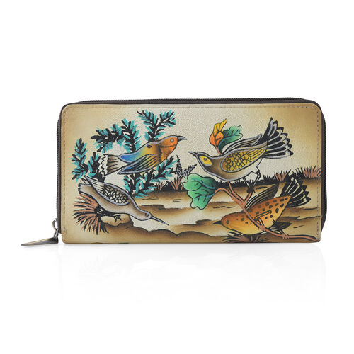 SUKRITI - 100% Genuine Leather Brown Colour Bird Handpainted Wallet with RFID Blocking (Size 18.5x10
