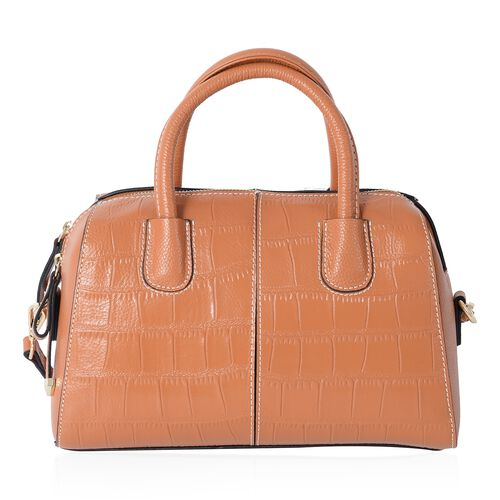 PREMIER COLLECTION 100% Genuine Leather Tan Colour Croc Embossed Tote Bag with Removable Shoulder Strap (Size 28x20.5x13 Cm)