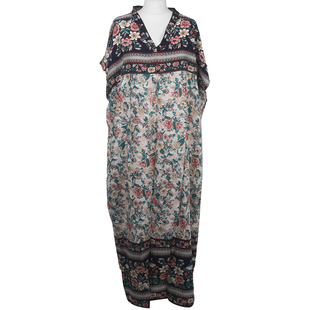 Floral Printed Kaftan in White - 100% viscose (Size 80x130cm)