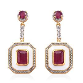 African Ruby and Natural Cambodian Zircon Enamelled Dangle Earrings (with Push Back) in Rhodium and