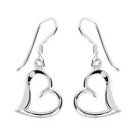 Rhodium Overlay Sterling Silver Open Heart Drop Hook Earrings