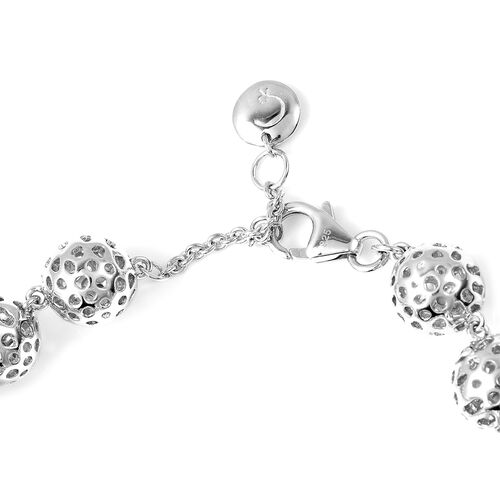 RACHEL GALLEY Rhodium Overlay Sterling Silver Globe Bracelet (Size 8 with Extender), Silver wt 21.61 Gms