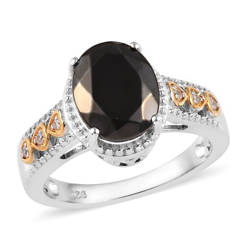 1.60 Ct Elite Shungite and Cambodian Zircon Ring in Silver