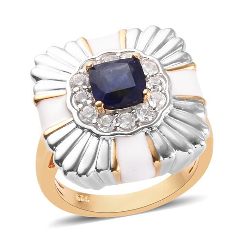 1.56 Ct Masoala Sapphire and Zircon Halo Cocktail Ring in Platinum and Gold Plated Silver
