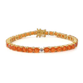 Jalisco Fire Opal and Diamond Bracelet (Size 8) in Yellow Gold Overlay Sterling Silver 8.94 Ct, Silv