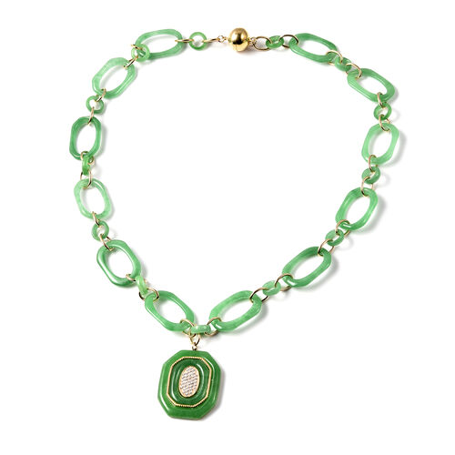 Green Jade and Natural Cambodian Zircon Necklace (Size 20)  in Yellow Gold Overlay Sterling Silver 8