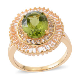 8.05 Ct Hebei Peridot and White Topaz Halo Ring in Gold Plated Silver