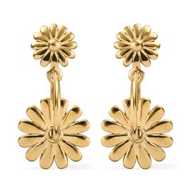 14K Gold Overlay Sterling Silver Double Floral Dangle Earrings (with Push Back)
