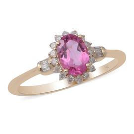 9K Yellow Gold Pink Tourmaline and Diamond Halo Ring 1.00 Ct.