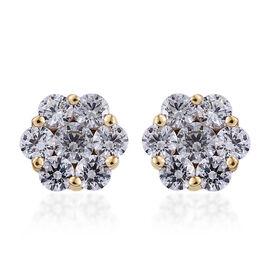 J Francis Made with Swarovski Zirconia Pressure Set Stud Earrings in 9K Gold 2.5 Grams