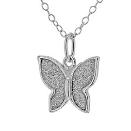 Rhodium Overlay Sterling Silver Butterfly Necklace (Size 18)