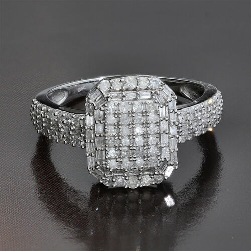 9K White Gold SGL Certified Diamond (I3/G-H) Ring 1.00 Ct.