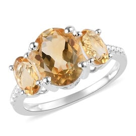 2.16 Ct Citrine Trilogy Ring in Sterling Silver
