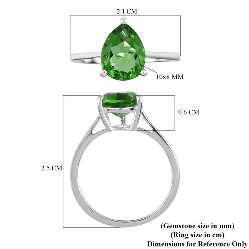 Helenite Solitaire Ring in Sterling Silver 2.25 Ct.