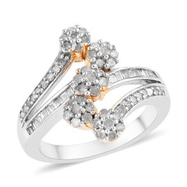 Diamond (Rnd and Bgt) Bypass Ring in Platinum and Yellow Gold Overlay Sterling Silver 0.75 Ct, Silve