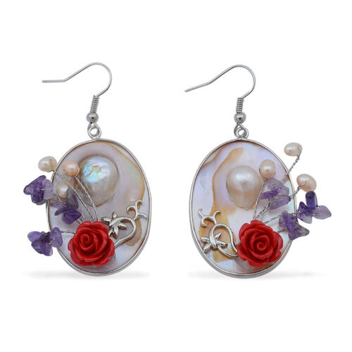 Amethyst, Fresh Water Pearl and Shell Hook Earrings in Silver Tone