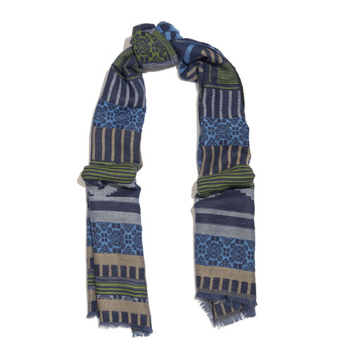 NewYork Designer Collection - Aztec Zigzag Pattern Shawl in Blue, Green and Multi Colour with Fringes (Size 190X70 Cm)