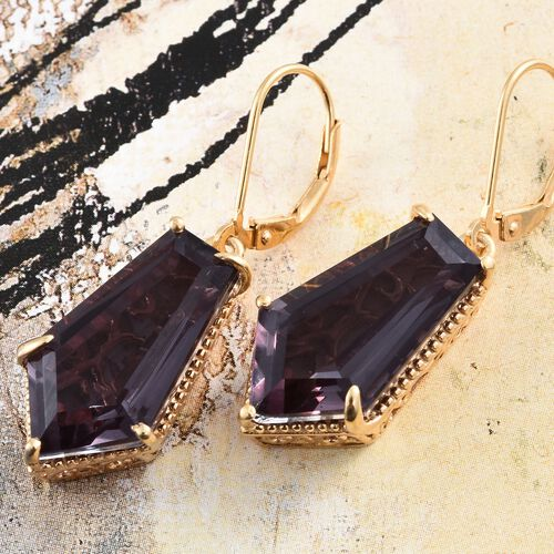 Alexandria Quartz Lever Back Earrings in 14K Gold Overlay Sterling Silver 20.000 Ct.