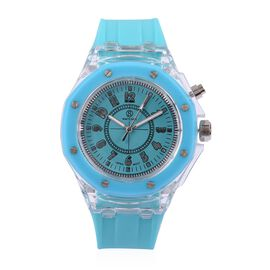 STRADA Japanese Movement Turquoise Blue Dial Water Resistant Watch in Silver Tone with Turquoise Blue Silicone Strap