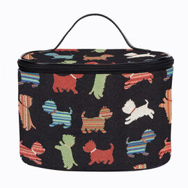 Signare - NEW Vanity Bag in Playful Puppy Design (22x15x15 cms) - Black