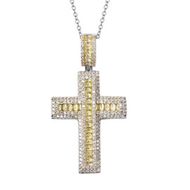 Simulated Yellow Sapphire Cross Pendant with Chain (Size 20 with 2 inch Extender) in Silver Tone