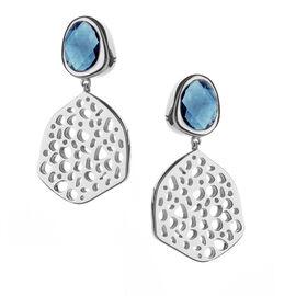 RACHEL GALLEY London Blue Topaz (Ovl 9x7 mm) Dangle Lattice Earrings in Rhodium Overlay Sterling Sil