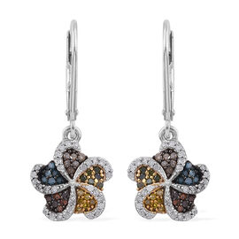 Designer Inspired - Multi Colour Diamond (Rnd) Earrings (with Push Back) in Platinum Overlay Sterlin