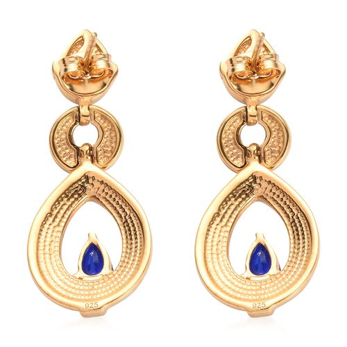 Tanzanian Blue Spinel Enamelled Earrings (with Push Back) in 14K Gold Overlay Sterling Silver 1.25 Ct., Silver wt 6.52 Gms